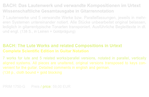 BACH: Das Lautenwerk und verwandte Kompositionen im Urtext